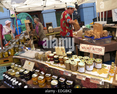 Farmers Market stall specializing in walnut products on Embarcadero Ferry Building San Francisco USA - Stock Photo