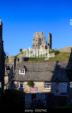 Corfe Castle in the village of Corfe in Dorset, England. - Stock Photo