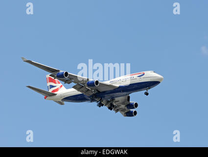 Miami, USA - September 6, 2008: British Airways Boeing 747 jumbo jet arrives in Miami after a flight from London. - Stock Photo