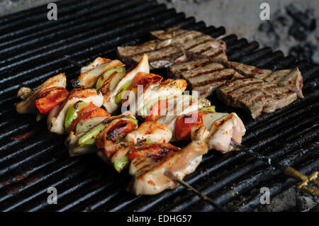 chicken meat skewers with peppers - Stock Photo