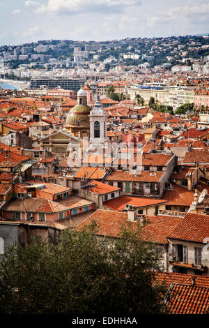 Old town Nice in Cote d'Azur on the south coast of France. - Stock Photo
