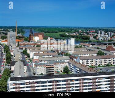 Grenze Deutschland Polen, Stadtpanorama von Frankfurt (Oder) in Brandenburg, Oderlandschaft, Blick ueber ein Wohngebiet - Stock Photo