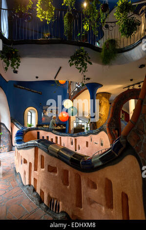 Staircase in the Kunsthaus Abensberg by Peter Pelikan, exhibition hall Friedensreich Hundertwasser at the brewery - Stock Photo