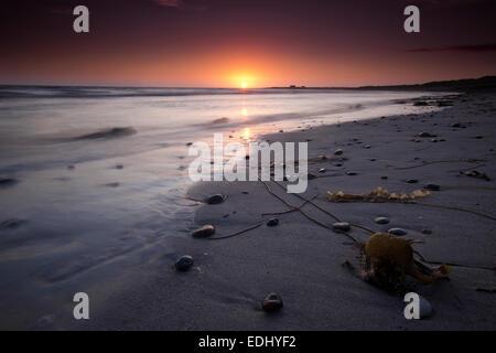 Sunset, beach, Isle of Barra, Outer Hebrides, Scotland, United Kingdom - Stock Photo