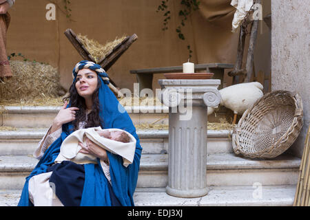 Crib, nativity scene - Stock Photo