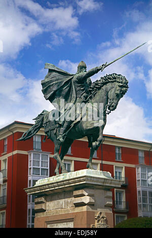 Bronze statue depicting 'El Cid', Rodrigo Díaz de Vivar on his warhorse Babieca, brandishing his sword Tizona, in - Stock Photo