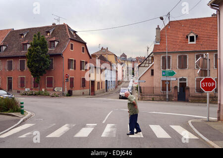 SAVERNE, FRANCE - AUGUST 2012:  Streetview at a Crossroad in the French village Saverne in the Bas-Rhin department - Stock Photo