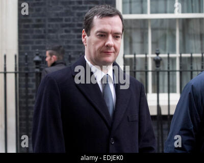 Westminster, London, UK. 7th January, 2015. Chancellor of the Excequer George Osborne leaves Downing Street for - Stock Photo