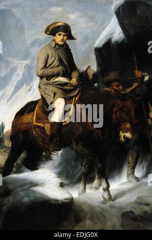 Bonaparte Crossing the Alps, 1848-1850,  by French painter Paul Delaroche (1797-1856). Oil on canvas. Museum of - Stock Photo