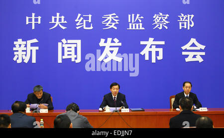 Beijing, China. 7th Jan, 2015. Huang Shuxian (C), deputy secretary of the Communist Party of China's (CPC) Central - Stock Photo