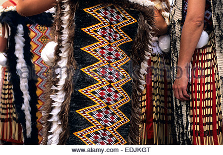 Maori women dancers from Arawa tribe, North Island, New Zealand. - Stock Photo