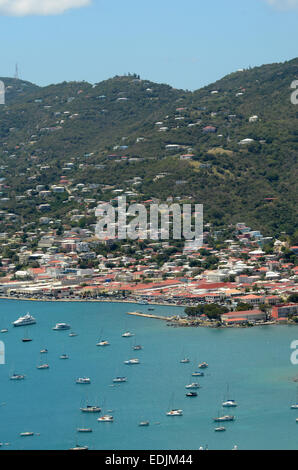 Yachts in the bay of St Thomas, US Virgin Islands - Stock Photo