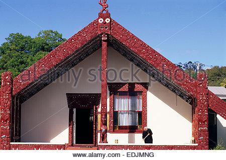 A marae, Rotorua, North Island, New Zealand. - Stock Photo