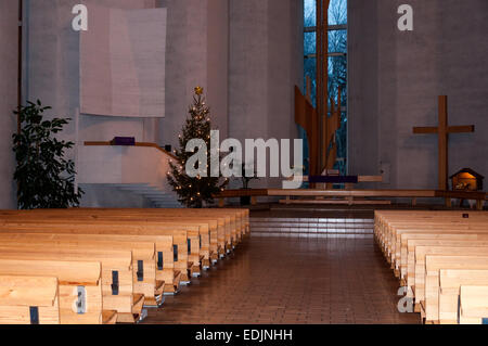 Inside of  Kaleva Church in Tampere, Finland, and designed by Reima and Raili Pietila in 1964 to 1966. - Stock Photo