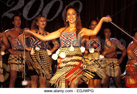 Maori dancers from Te Waka Huia at Waitangi, North Island, New Zealand. - Stock Photo