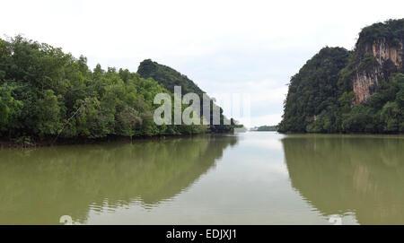 Khao Kanab Nam: The Gates of Krabi river, Krabi, Thailand, Southeast Asia. - Stock Photo