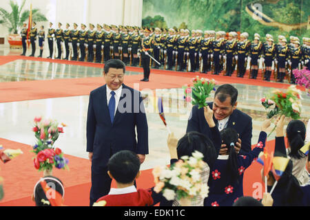 Beijing, China. 7th Jan, 2015. Chinese President Xi Jinping (L) holds a welcoming ceremony for Ecuador President - Stock Photo