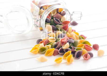 dry italian pasta on white table - Stock Photo