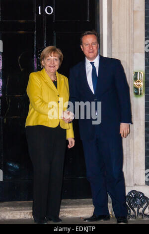 Downing Street, London, UK. 7th January, 2015. German Chancellor Angela Merkel meets with British Prime Minister - Stock Photo