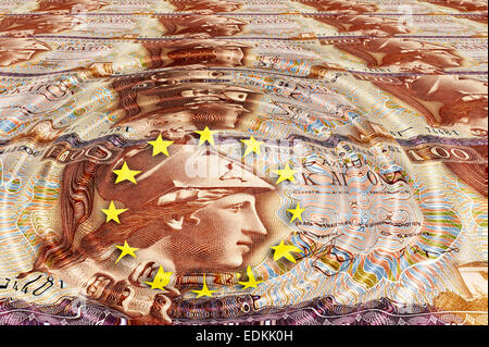 Banknote from Greece, 100 drachmas from 1978 with EU sign, symbolic image - Stock Photo