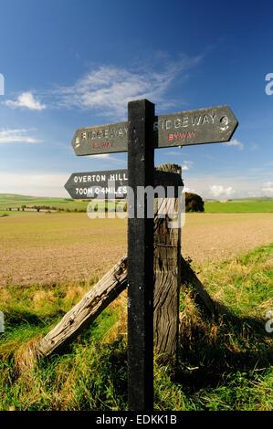 Ridgeway signpost on Overton Hill. - Stock Photo