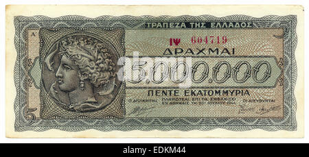 Historical bank note, Greece, 5 million drachmas from 1944, inflation money, Europe, - Stock Photo