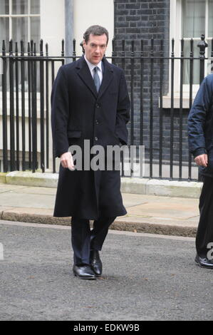 London, UK, 7 January 2015, George Osborne leaves 11 Downing street to take part in the first Question Time of 2015 - Stock Photo