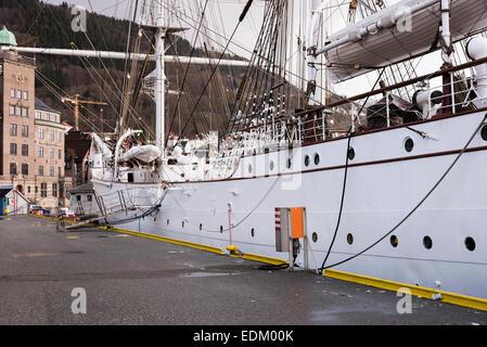 The Three Masted Norwegian Steel Barque Tall Ship Statsraad Lehmkuhl Sail Training Vessel Docked in Bergen Harbour - Stock Photo