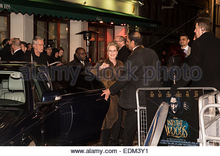 London, UK. 7th January, 2015. Meryl Streep, star of Into The Woods, arriving at the film's premier, Curzon Cinema, - Stock Photo