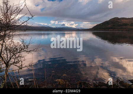 Looking East down Loch Maree towards Slioch, Sleaghach, in Wester Ross Scotland - Stock Photo