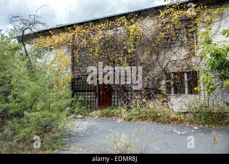 former radio-ecological laboratory (fish farm before accident) in Pripyat, Chernobyl Exclusion Zone, Ukraine - Stock Photo