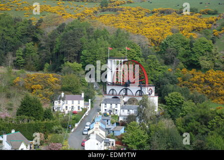 View of The Laxey Waterwheel on The Isle of Man - Stock Photo