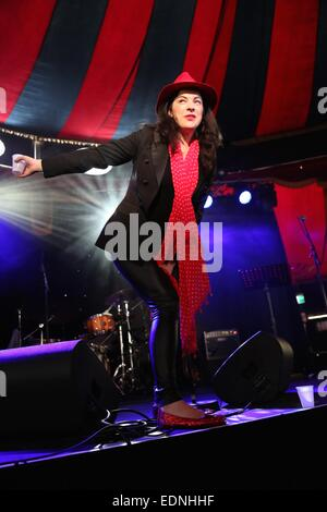 Sydney, Australia. 7th January, 2015. Camille O' Sullivan introduces her act 'Changeling' in The Famous Spiegeltent - Stock Photo