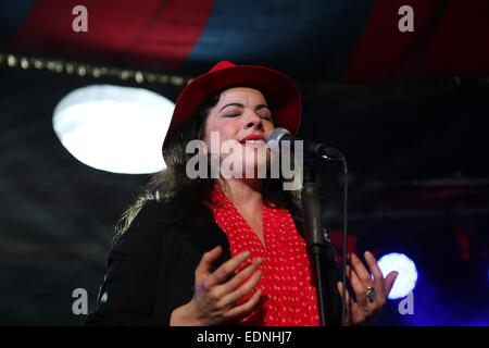 Sydney, Australia. 7th January, 2015. Camille O' Sullivan performs her act 'Changeling' in The Famous Spiegeltent - Stock Photo