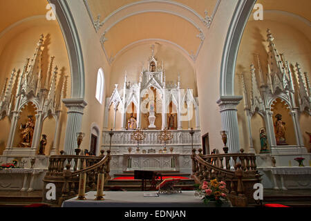 Altar area, Iglesia de Nuestra Senora de Guadalupe, Teguise, Lanzarote, Canary Islands, Spain - Stock Photo