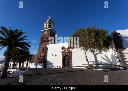 Iglesia de Nuestra Senora de Guadalupe, evening light, Teguise, Lanzarote, Canary Islands, Spain - Stock Photo