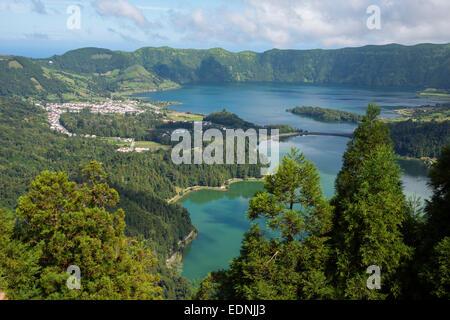 Lagoa Verde and Lagoa Azul, Caldeira das Sete Cidades, Sao Miguel, Azores, Portugal - Stock Photo