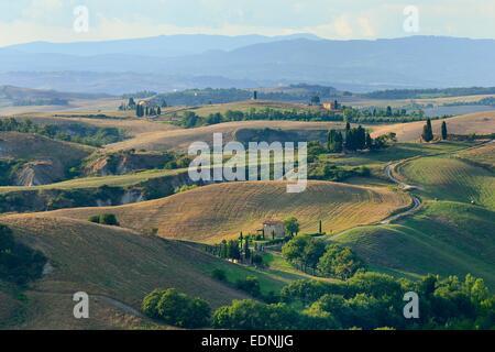 Hilly landscape in the Crete Senesi, Province of Siena, Tuscany, Italy - Stock Photo
