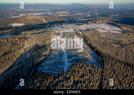 Aerial view, Mt Kahler Asten, Winterberg, Hochsauerland district, Sauerland, North Rhine-Westphalia, Germany - Stock Photo