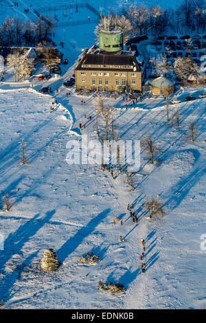 Aerial view, Mt Kahler Asten, Astenturm tower with the weather station in the snow, Hochheide district, Winterberg - Stock Photo