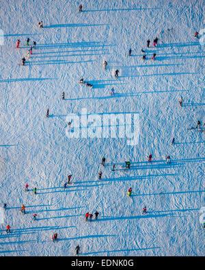 Aerial view, skiers on a training hill, Winterberg, Hochsauerland district, Sauerland, North Rhine-Westphalia, Germany - Stock Photo