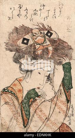 Oharame, Village girl from Ohara., Katsushika, Hokusai, 1760-1849, artist, [ca. 1799], 1 print : woodcut, color - Stock Photo