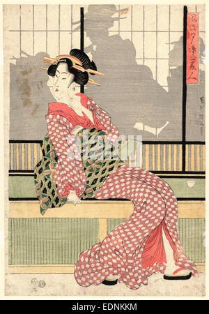 Furyu yusuzumi san bijin, Updated version of three beauties enjoying the evening cool., Kikukawa, Eizan, 1787-1867, - Stock Photo