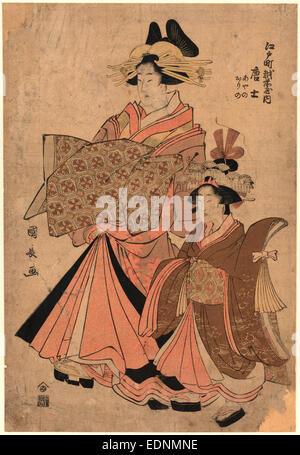Edocho echizenya uchi morokoshi, The courtesan Morokoshi of the house of Ichizen on Edocho., Utagawa, Kuninaga, - Stock Photo