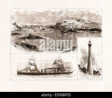 THE WRECK OF THE 'SCHILLER' ON THE SCILLY ISLES, 1875: 3. Hugh Town, St. Mary's. 4. Bishop's Rock and Lighthouse - Stock Photo