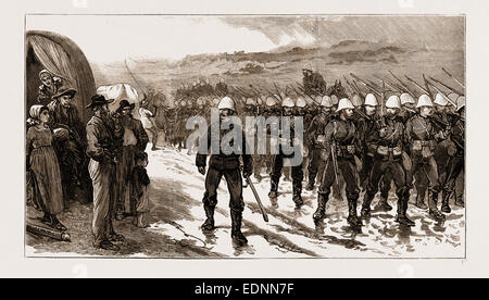 THE REBELLION IN THE TRANSVAAL, SOUTH AFRICA, 1881: BRITISH INFANTRY ON THE MARCH - Stock Photo