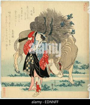 Oharame, Oharame: village girl from Ohara., Katsushika, Hokusai, 1760-1849, artist, 1829., 1 print : woodcut, color - Stock Photo