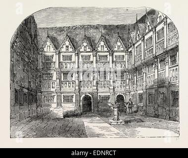 SIR THOMAS GRESHAM'S HOUSE IN BISHOPSGATE STREET, London, UK, 19th century engraving - Stock Photo