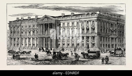 NEW GENERAL POST OFFICE, ST. MARTIN'S-LE-GRAND. London, UK, 19th century engraving - Stock Photo