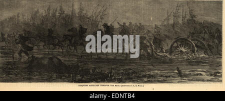 Dragging artillery through the mud, 1864 March, 1 print wood engraving, 35 x 13 cm. (image), 1862-1865, by Alfred - Stock Photo